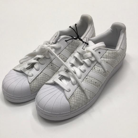 buy online 52c6b ce422 ASOS adidas snakeskin white shoes 9
